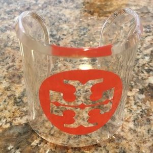 Tory Burch clear cuff bracelet with logo